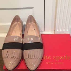 Katespade paten leather mauve flat shoes